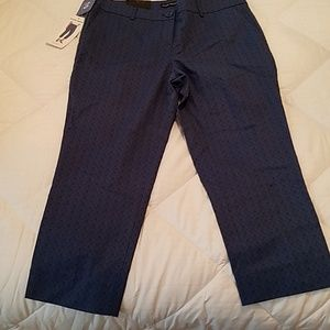 Hilary Radley Blue Combo Capris Pants - 10